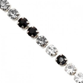Cup chain 3mm Crystal-black-silver