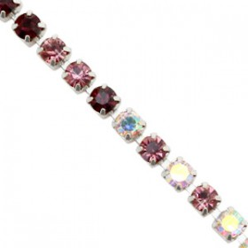 Cup chain 3mm rose-crystal ab-black-silver