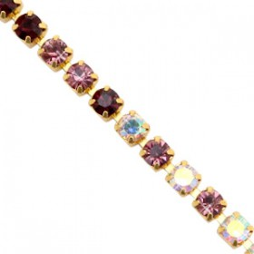 Cup chain 3mm rose-crystal ab-black-gold