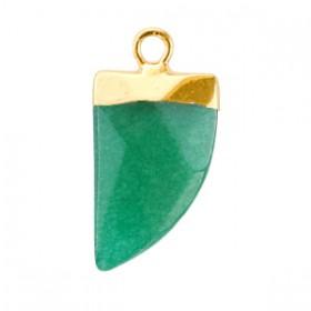 Natuursteen hangers zwaardtand Quetzal green-gold
