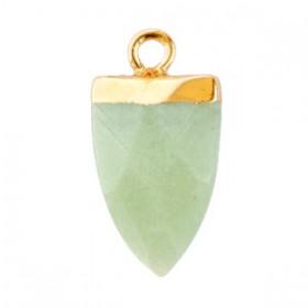 Natuursteen hangers tand Ocean green-gold
