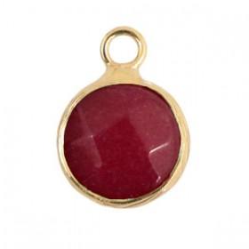 Natuursteen hangers 10mm Dark fruit dove pink-gold