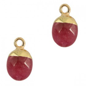 Natuursteen hangers Dark fruit dove pink-gold