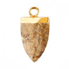 Natuursteen hangers tand Porcini brown-gold