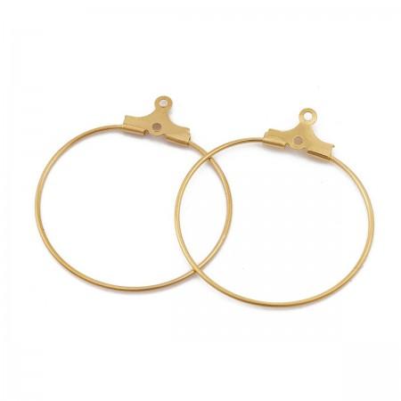 RVS oorring hangers 27mm goud plated