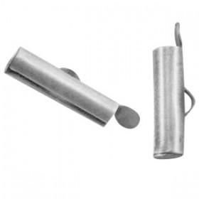 Schuifeindkapjes 15.5x 6mm Antiek Zilver (nikkelvrij)