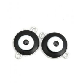 RVS tussenstuk Evil Eye Silver Plated Black Enamel