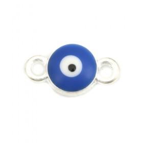 RVS tussenstuk Evil Eye Silver Plated Deep blue Enamel