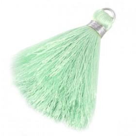 kwastjes 6cm Light mint green-silver