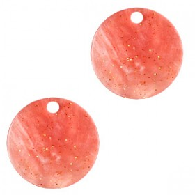 Resin hangers rond 12mm Coral red