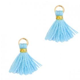 Kwastjes 1cm Goud light blue