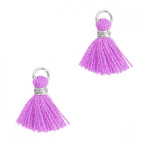 Kwastjes 1cm Zilver light purple