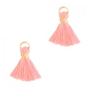Kwastjes 1cm Goud Neon coral pink
