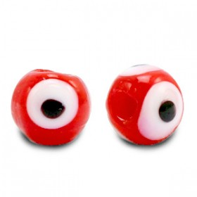 glaskralen Evil Eye 6 mm Red
