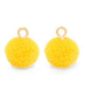 Pompom 10mm met gouden oog Sunshine yellow