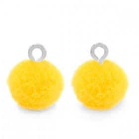 Pompom 10mm met zilveren oog Sunshine yellow