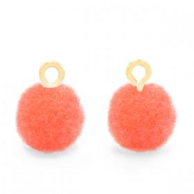 Pompom 10mm met gouden oog Coral pink