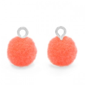 Pompom 10mm met zilveren oog Coral pink
