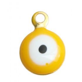 RVS bedel Evil Eye gold plated White & yellow Enamel