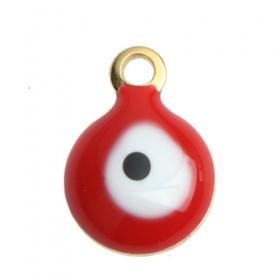 RVS bedel Evil Eye gold plated White & Red Enamel