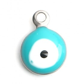 RVS bedel Evil Eye Silver tone White & Green blue Enamel