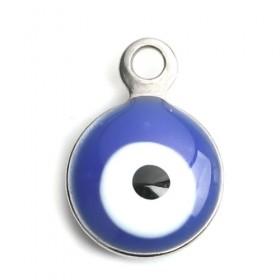 RVS bedel Evil Eye Silver tone White & Blue Enamel