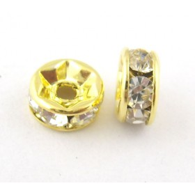 Metalen spacer gold rhinestone disc 6mm
