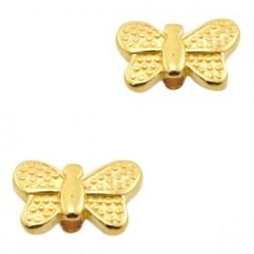 DQ metaal kraal vlinder Goud (nikkelvrij)