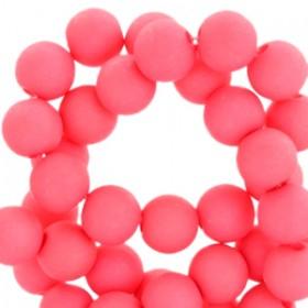 Acryl kralen mat rond 6mm Hot coral pink