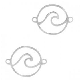 RVS tussenstuk / bedeltje cirkel met wave 304 Stainless Steel