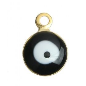 RVS bedel Evil Eye gold plated Black & White Enamel