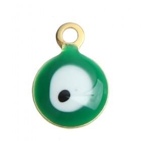 RVS bedel Evil Eye gold plated White & Green Enamel