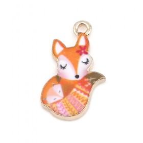 Metaal bedel fox Gold-orange Enamel