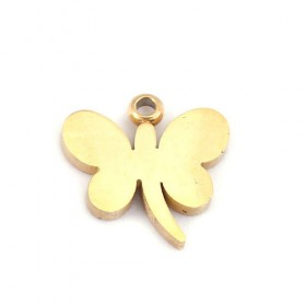 RVS bedeltje vlinder 304 Stainless Steel goud plated