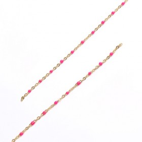 RVS Ketting 2.5x5mm Gold Plated Hot Pink Enamel