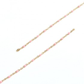 RVS Ketting 2.5x5mm Gold Plated Pink Enamel