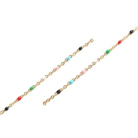 RVS Ketting 2.5x5mm Gold Plated multi color Enamel
