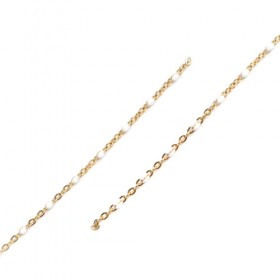 RVS Ketting 2.5x5mm Gold Plated White Enamel