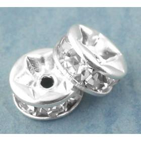Metalen spacer zilver disc met rhinestones 6mm