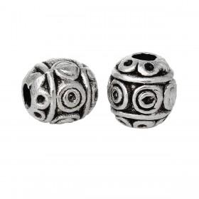Metalen spacer zilver Oval circles 6mm