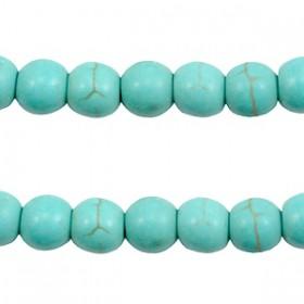 Keramiek turquoise kralen disc 6mm Ivoor