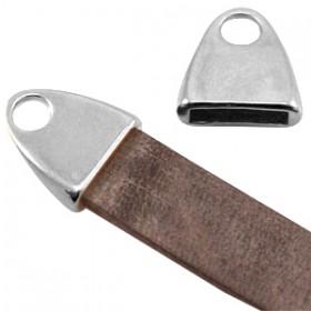 DQ metaal eindkap met oog (voor DQ leer plat 10mm) Antiek zilver (nikkelvrij)