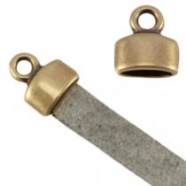 DQ metaal eindkapje met oog (voor 5mm plat leer) Antiek brons (nikkelvrij)