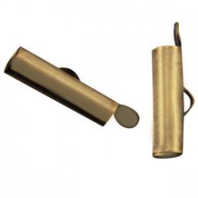 Schuifeindkapjes 15.5x 6mm Antiek Brons (nikkelvrij)
