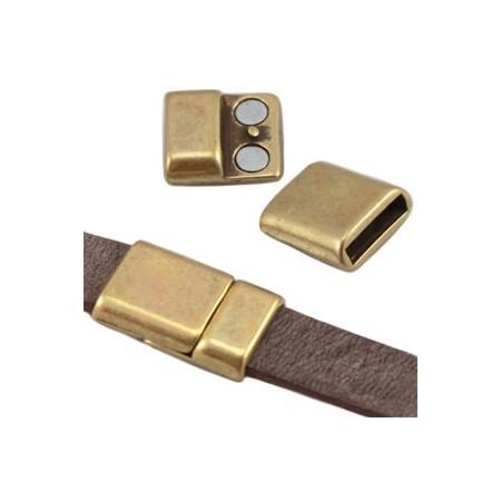 DQ metaal magneetslot (voor DQ leer plat 10mm) Antiek brons (nikkelvrij)