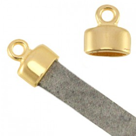 DQ metaal eindkapje met oog (voor 5mm plat leer) Goud (nikkelvrij)