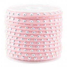 Imi. Suède leer 5mm met studs zilver Bright strawberry pink