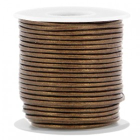 DQ leer rond 1 mm Dark copper brown metallic