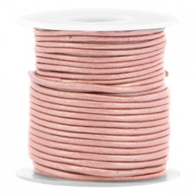DQ leer rond 1 mm Light rose brown metallic