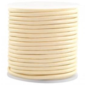 DQ leer rond 2 mm Ivory geel